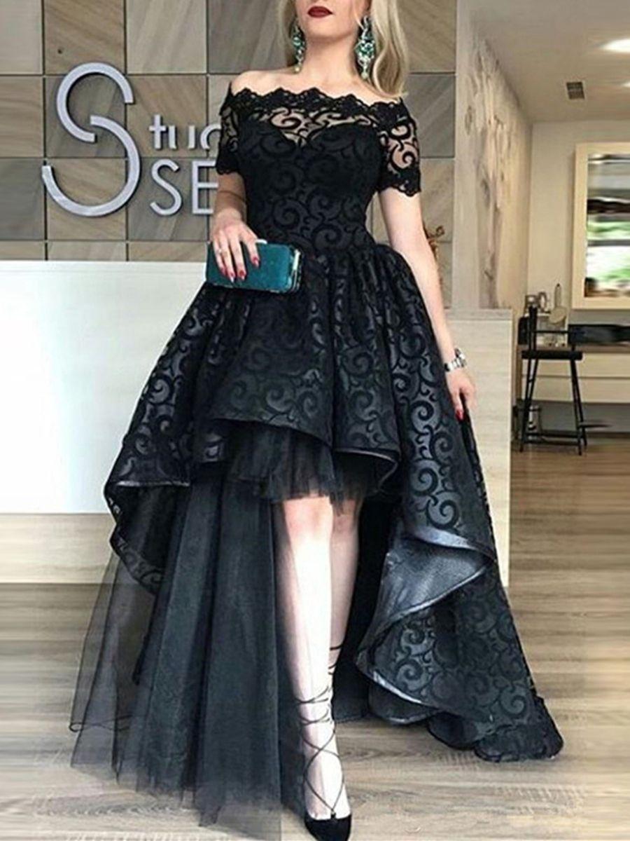 A Line Lace Off The Shoulder Sweep Train Evening Dress Tbdressreviews Reviewstbdress Womanf Black Lace Evening Dress Celebrity Evening Dress Evening Dresses [ 1200 x 900 Pixel ]