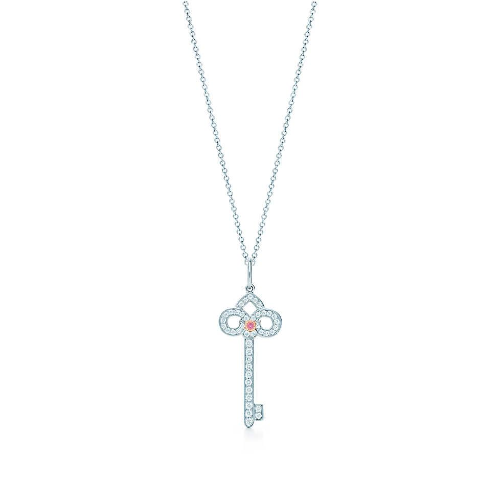 ca86d09f7 Tiffany Keys fleur de lis key pendant in platinum with a diamond. | Tiffany  & Co.