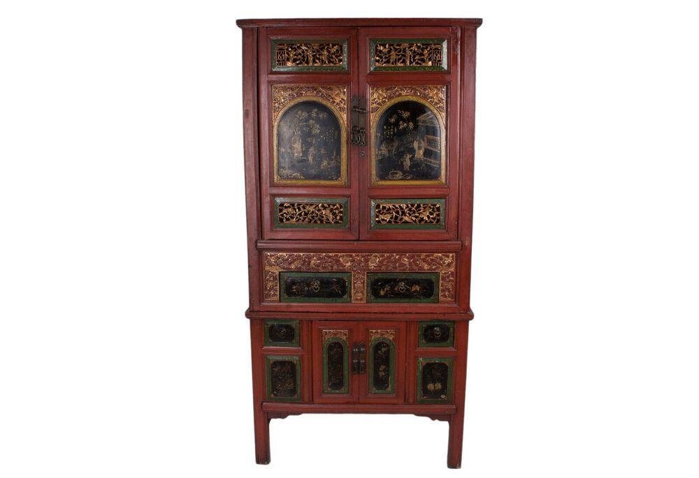 China 19 Jh Grosser Rot Lackierter Antiker Chinesischer Schrank Qing Chinese Chinese Chinesisch Ebay