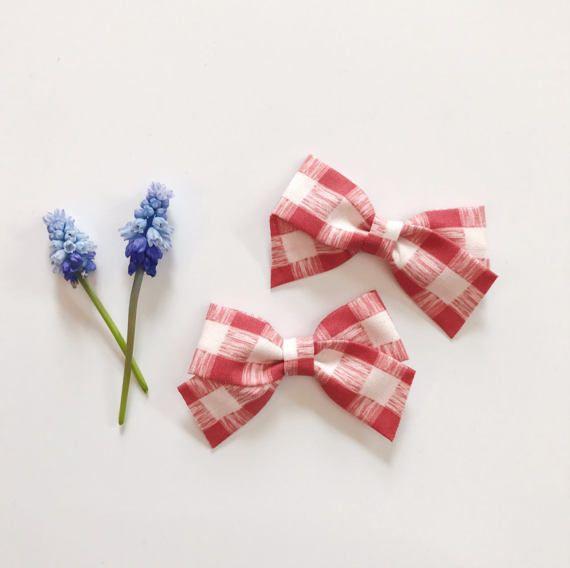 Handmade Girls School Hair Bow  Purple and White