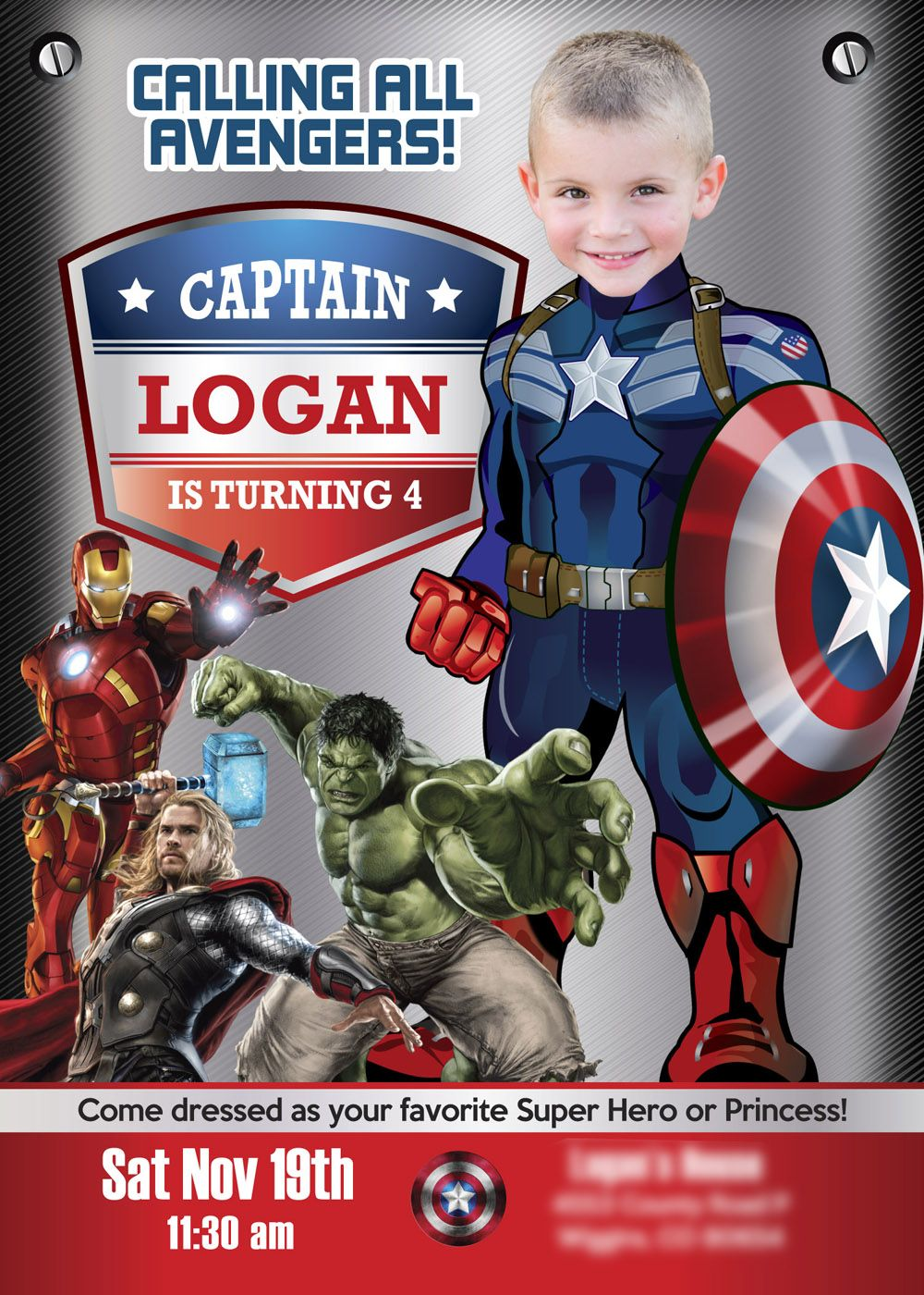 A Super Sample Turn Your Boy Into His Favorite Super Hero Captain America Capt Avengers Party Invitation Captain America Party Captain America Birthday Party