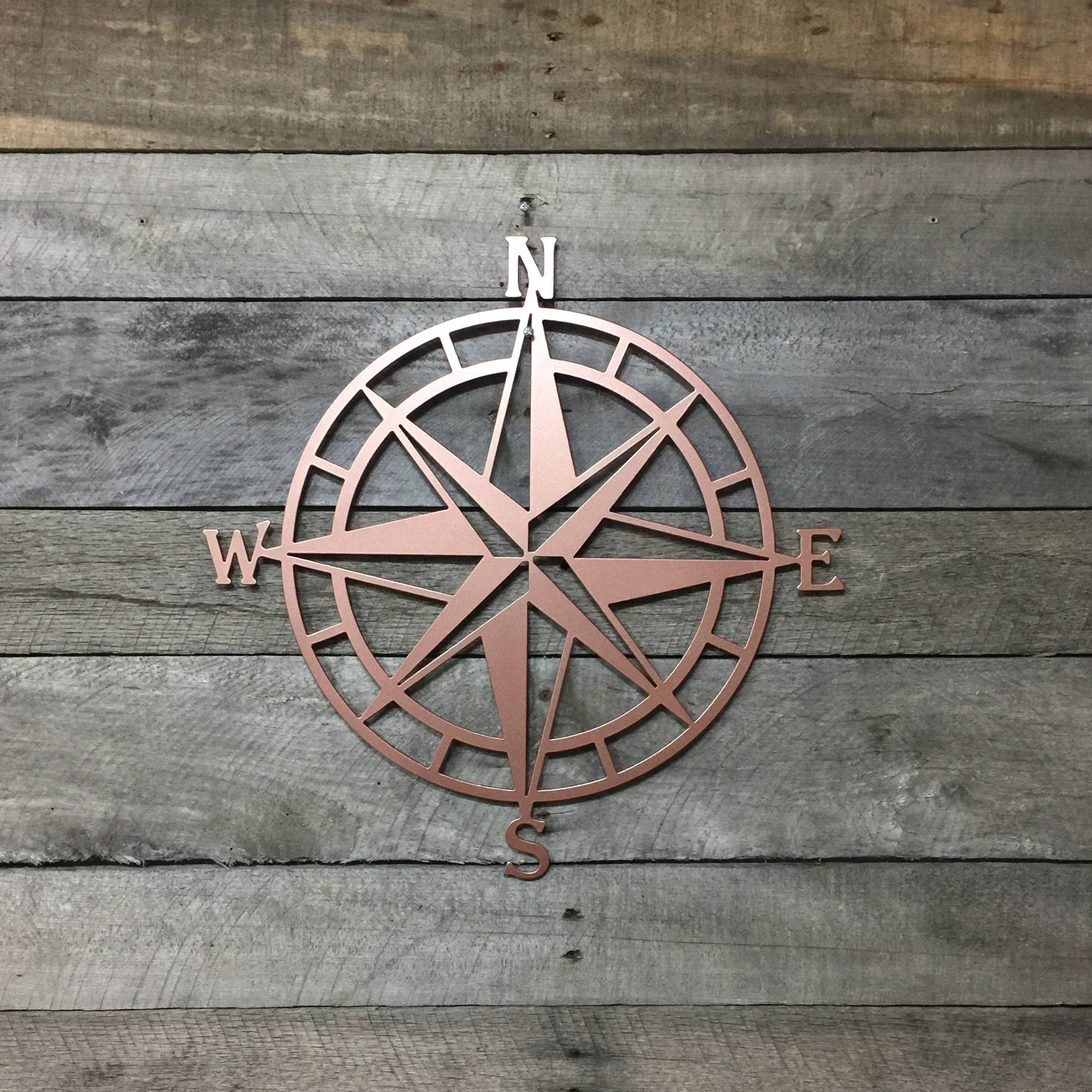 Rose Gold Metal Compass Nautical Wall Art Hanging By HouseSensationsArt On Etsy