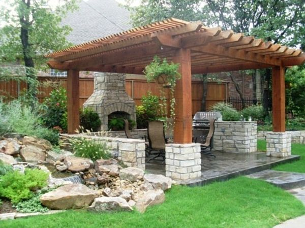 garten ideen pergola selbst bauen steinpflaster stützen Yard