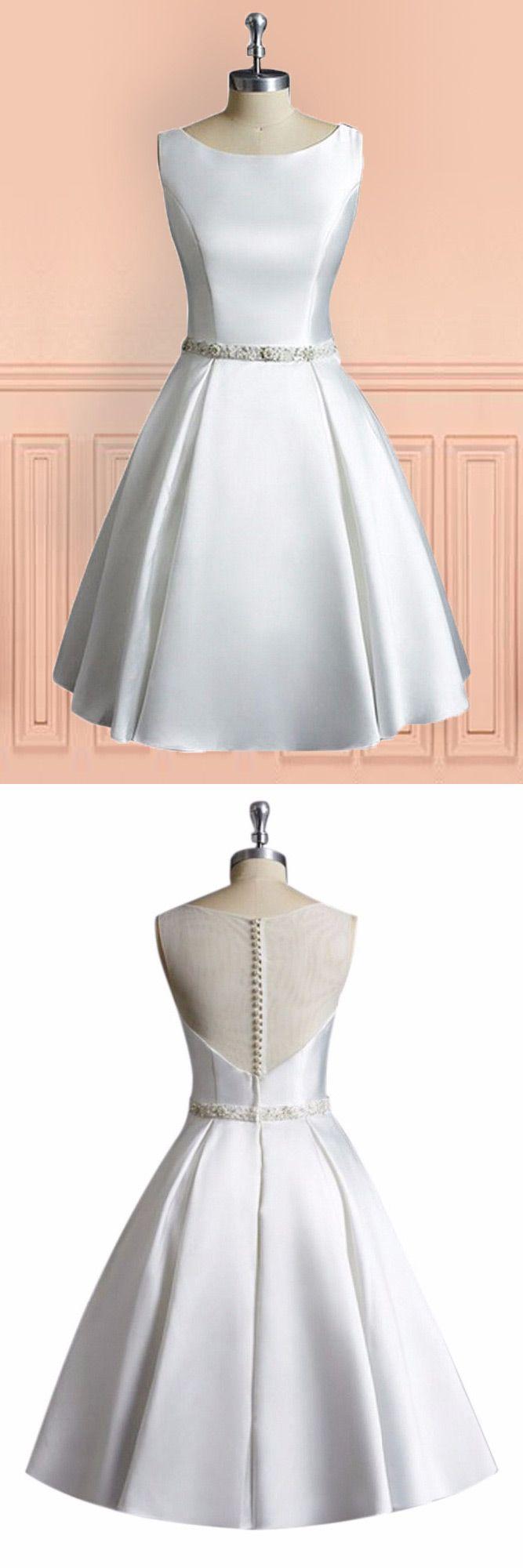 Short wedding dresses for older brides  Simple Vintage A Line Satin Short Wedding Dress Reception Sleeveless