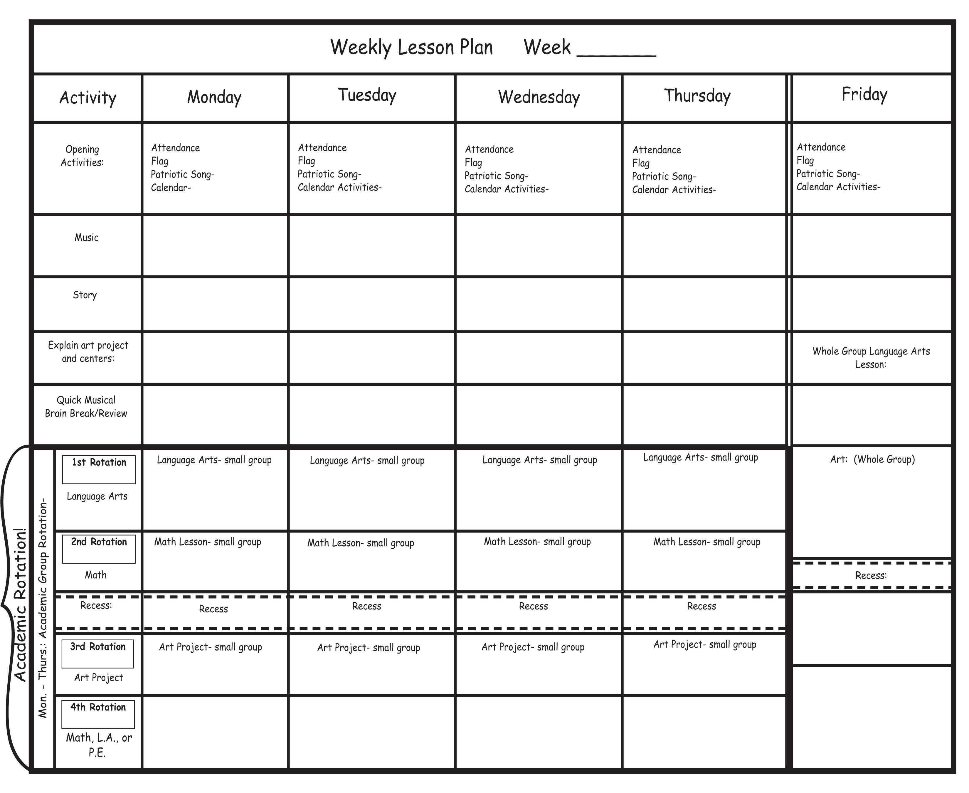 Blank Preschool Lesson Plan Template Kindergarten