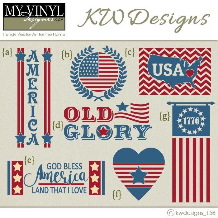 Digital Download Patriotic Vectors In Ai Eps Gsd Svg Formats My Vinyl Designer Myvinyldesigner Kwdesigns Patriotic Door Hanger Patriotic Vinyl