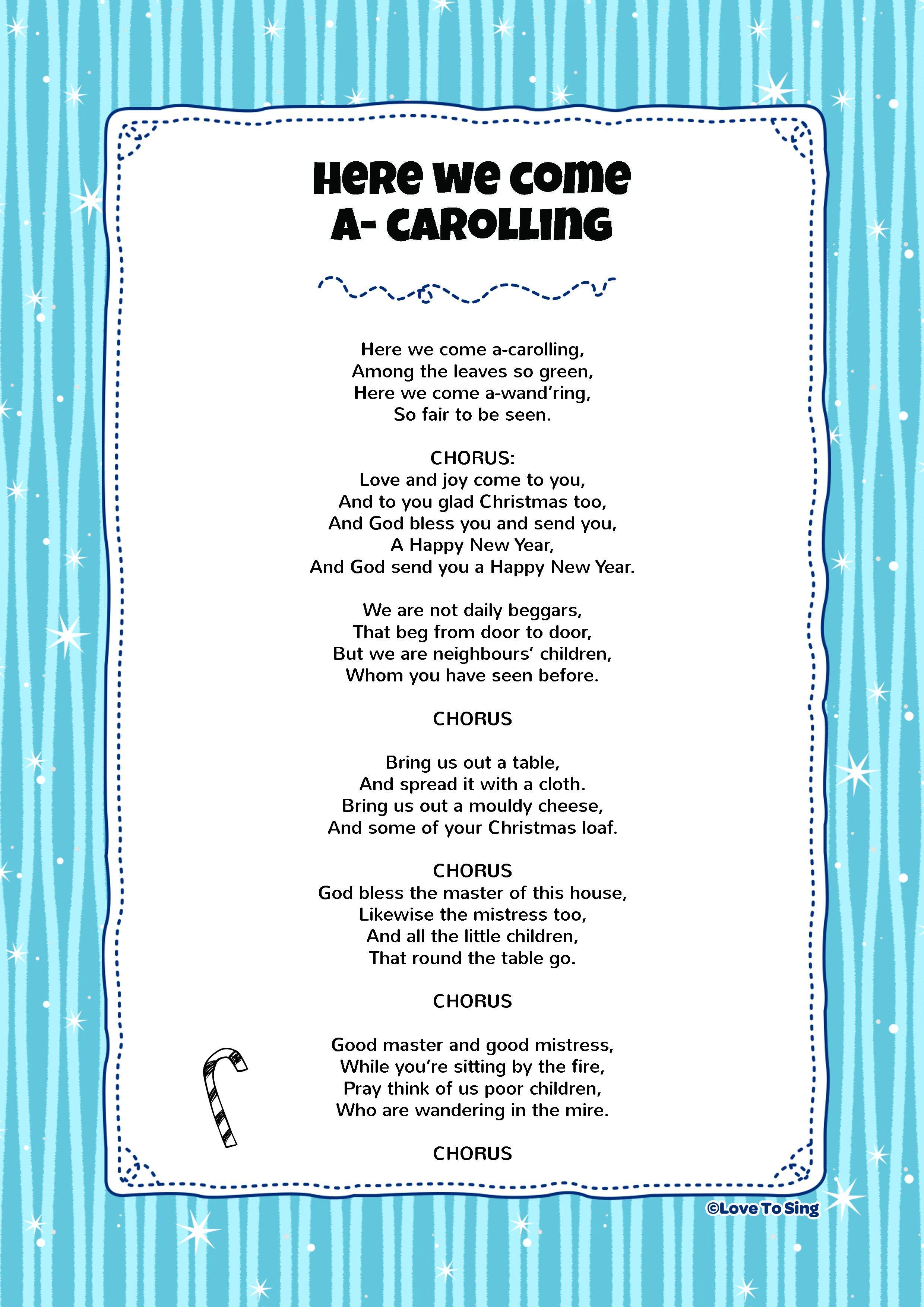 Here We Come A Carolling Kids video songs, Free lyrics