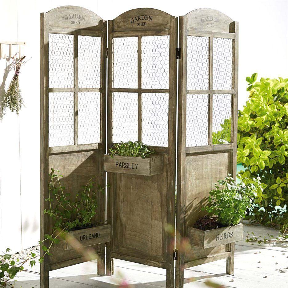 Trennwand Paravent Holz Shabby Chic Sichtschutz Raumteiler