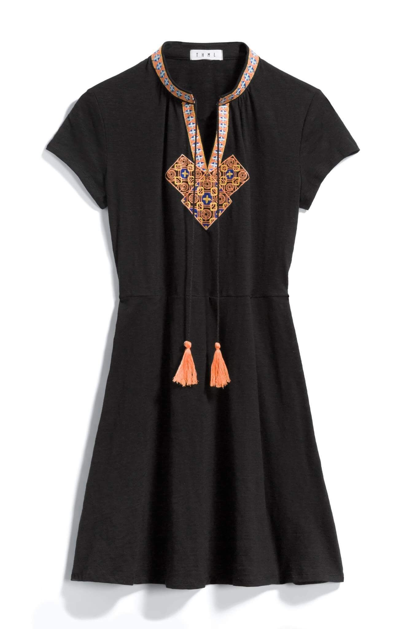 Thml black dress with orange print tie detail stitch fix style