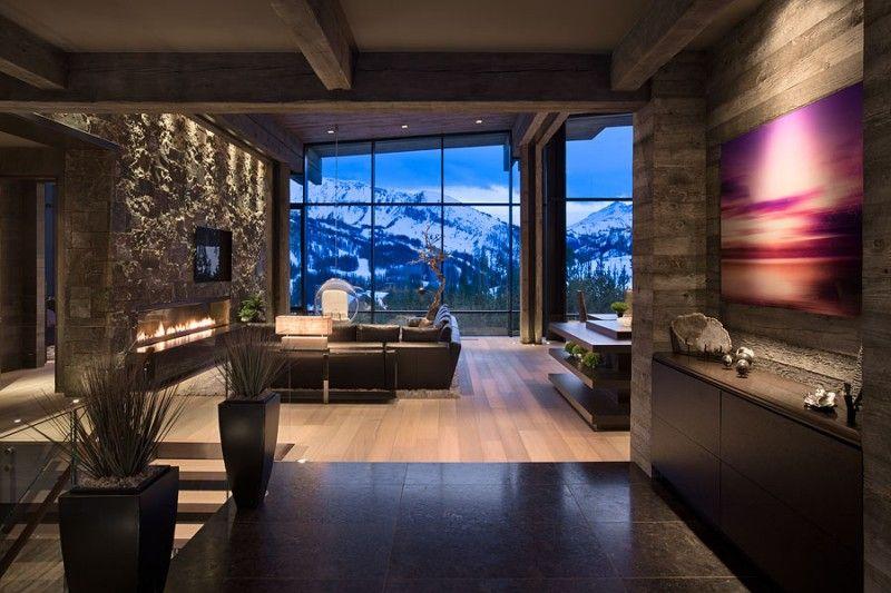 moderne Wohnzimmer in dunklen Farben und Steinwand Home - steinwand farbe