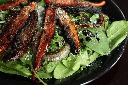 Marinated Portobello Mushroom Spinach Salad - finished