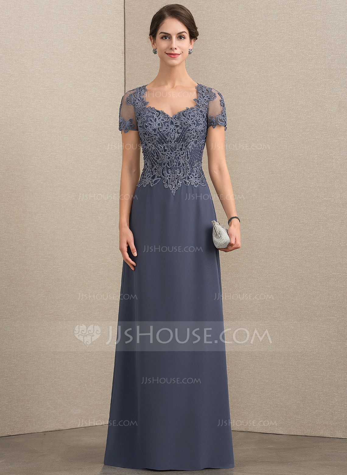 5264596193b A-Line Princess Sweetheart Floor-Length Chiffon Lace Mother of the Bride  Dress With Beading Sequins