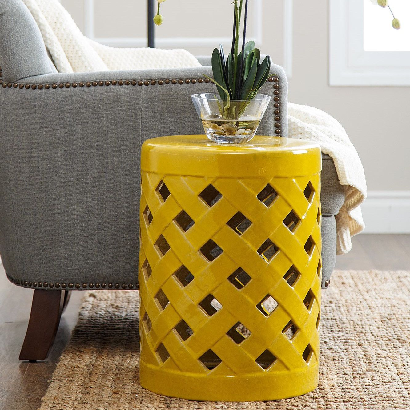 This Sunny Yellow Garden Stool Adds A Cheerful Element To Your Porch Or Patio Handy Ceramic From Abbyson Living Can Be Used Prop Up Feet