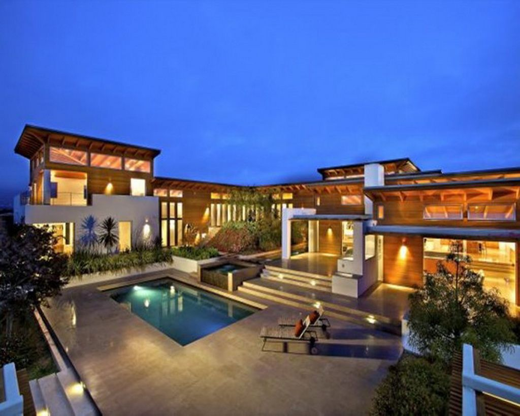 Etonnant Exterior Stunning Mansion In San Diego With Extraordinary Natural Wood Wall  Panel And Impressive Grey Marble