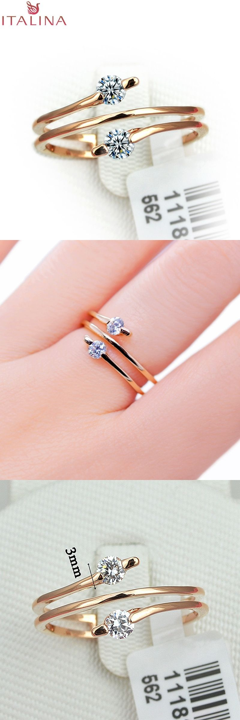Hot Sale ITALINA Brand Rose Gold Plated Jewelry Lady 2 Stone ...