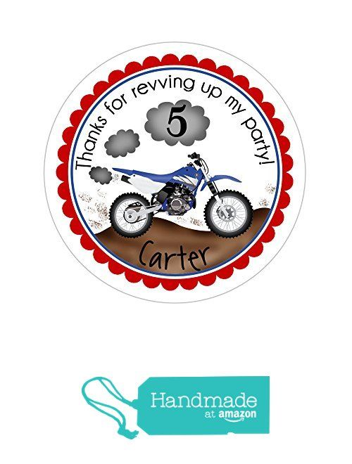 Personalized customized birthday party favor thank you stickers dirt bike round labels choose