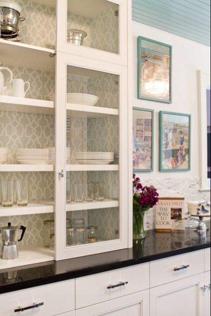 Wallpaper Back Of Glass Cabinets Glass Cabinets To Countertop Wallpaper Cabinets Inside Cabinets House Of Turquoise
