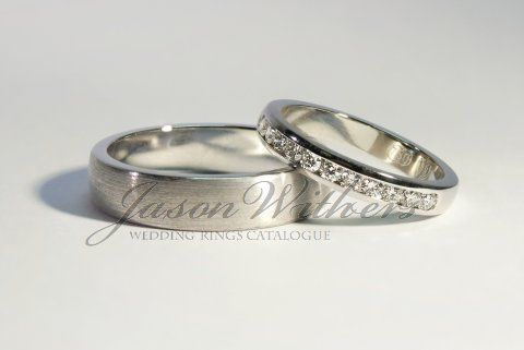 Classy white gold matching wedding bands for Him Her His is