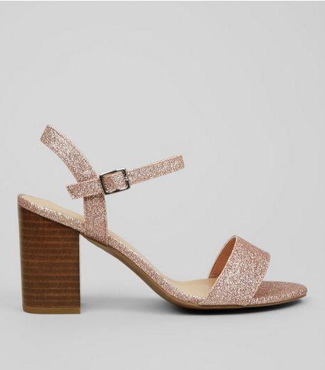 9af5fd79797 Wide Fit Rose Gold Heeled Sandals