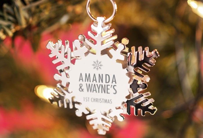 Set Of 2 Engraved Silver Christmas Ornaments - Snow Flake   Engraved By  Getting Personal - Set Of 2 Engraved Silver Christmas Ornaments - Snow Flake Engraved