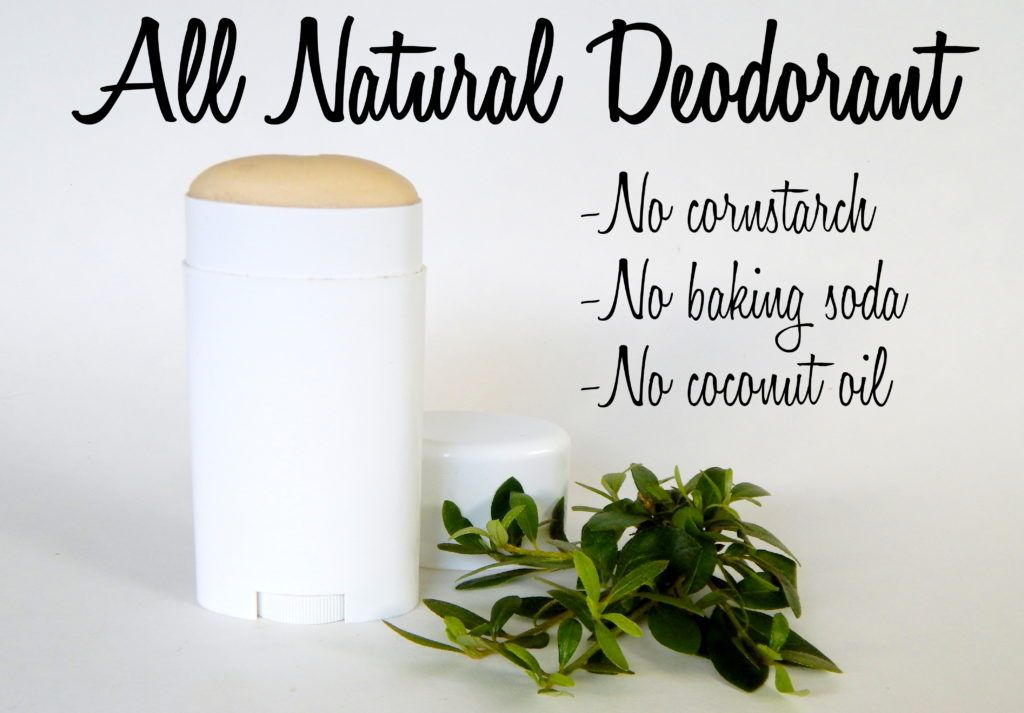 All natural homemade deodorant stick without cornstarch, baking soda, or coconut oil