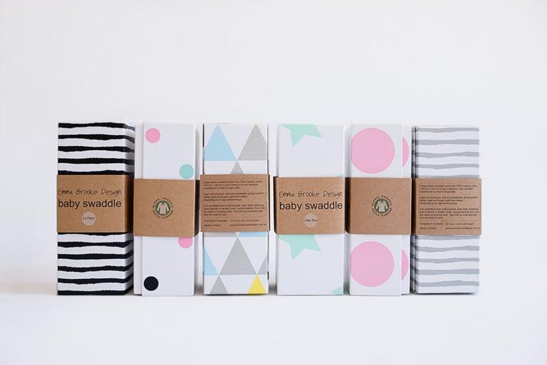 Emma Brooke Design, LARGE Baby Swaddle Blanket, GOTS Organic Muslin Cotton, Receiving Blanket, Baby Shower, Pram & Nursing Cover - Hipster '