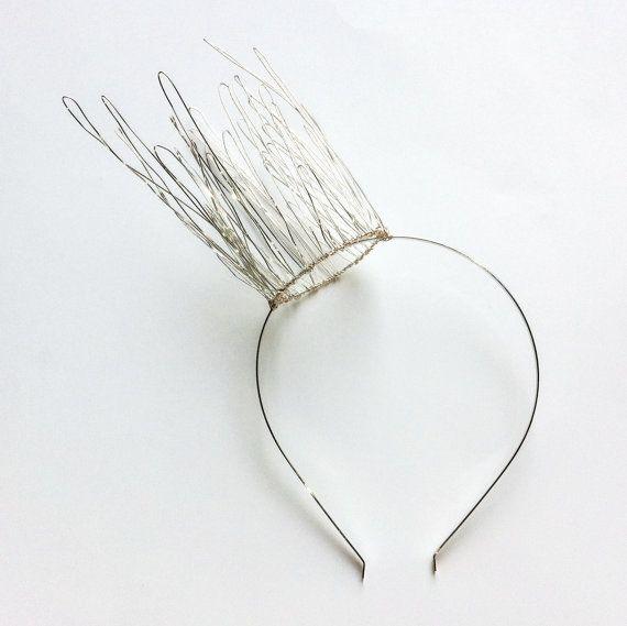 Tall Silver Wire Crown 'Aria', Metal Side Crown, Fairy Crown, Alternative Bridal Crown, Faerie Headpiece, Metal Tiara, Womens Fascinator