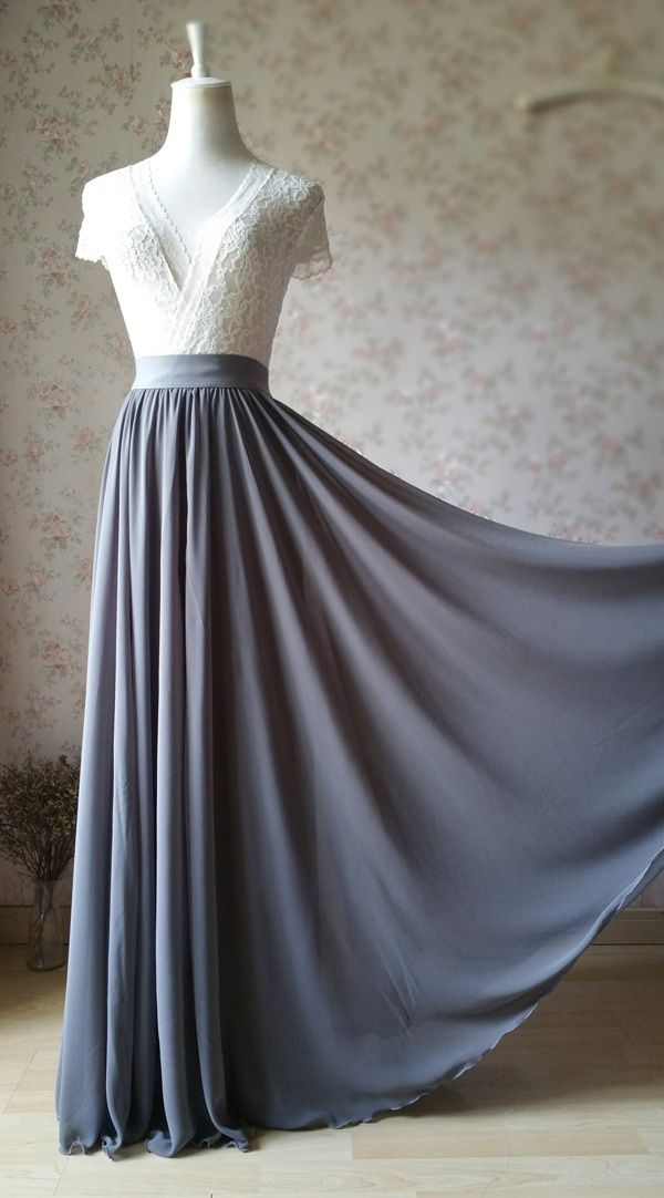 Photo of GRAY Chiffon Maxi Skirt Gray Bridesmaid Chiffon Skirt Wedding Party Plus Size