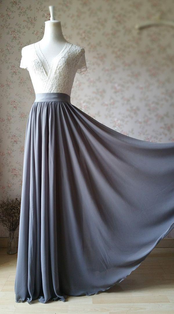 GRAY Chiffon Maxi Skirt Gray Bridesmaid Chiffon Skirt Wedding Party Plus Size