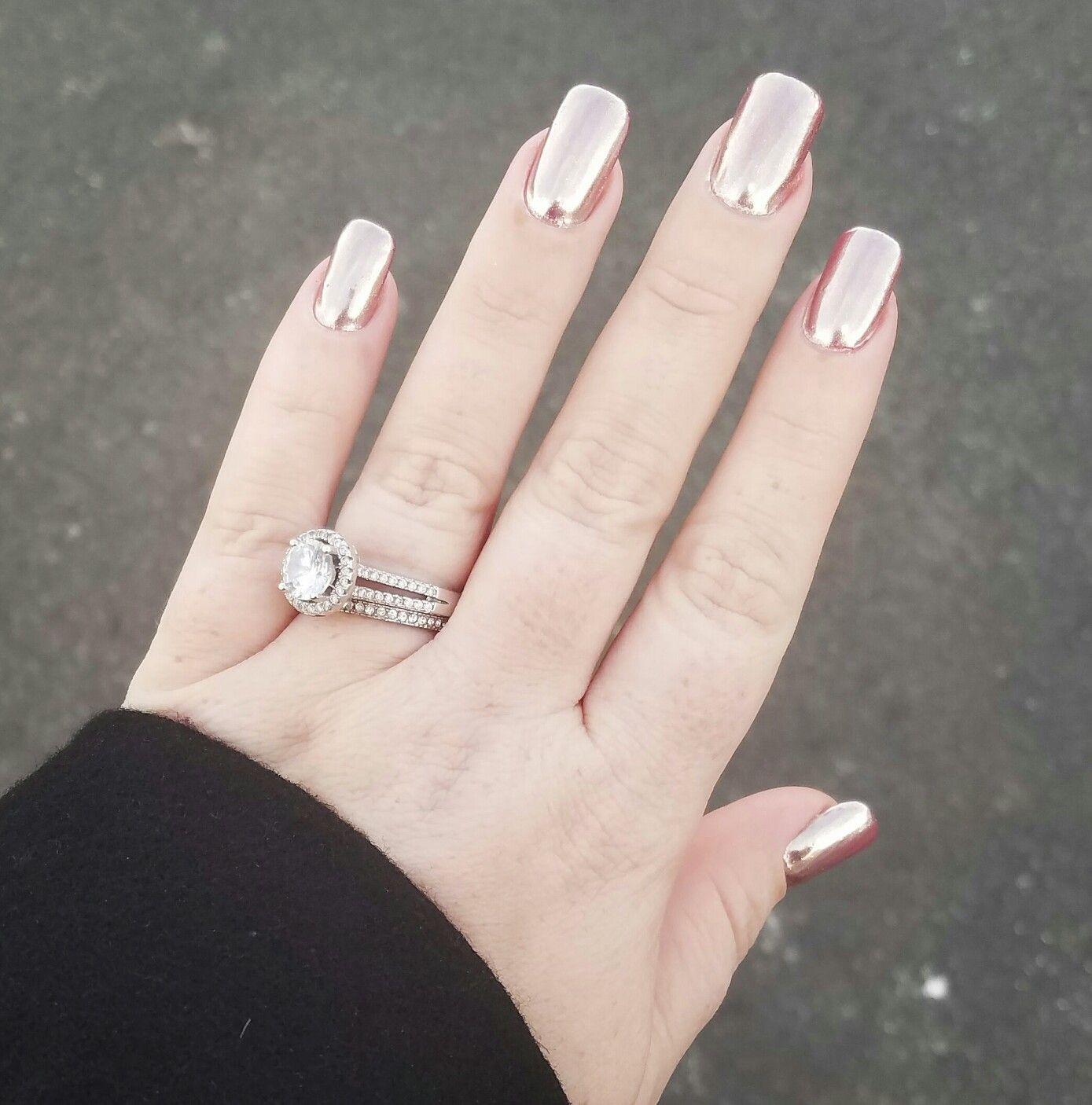 Chrome nails chrome powder rose gold bling ring ibd personal work ...