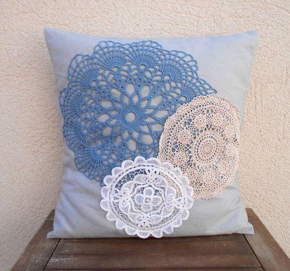 Crochet lace pillow designer pillow doily pillow decorative pillow cover blue pillow shabby chic pillow grey pillow vintage lace