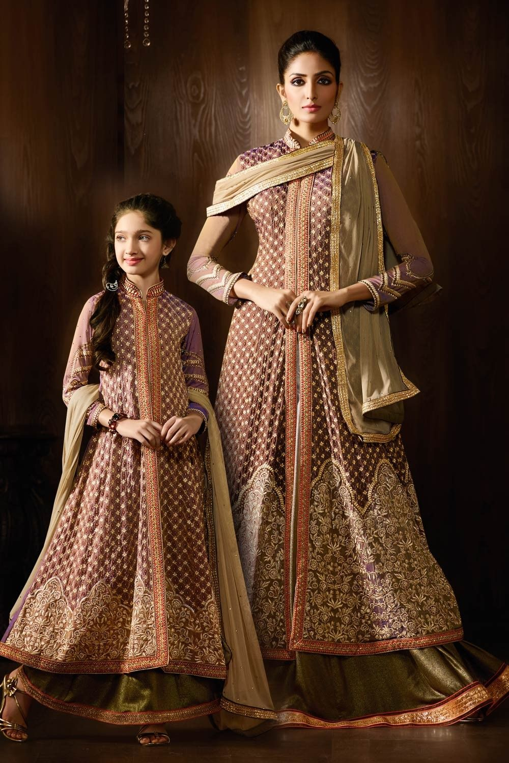 747c6059f776 same dress for young girls mom   baby girl LATEST BROWN GEORGETTE ANARKALI  LEHENGA SUIT SAME DRESS FOR MOM AND DAUGTER