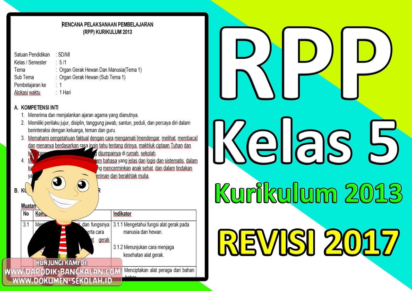 Download Rpp Kelas 5 Kurikulum 2013 Revisi 2017 Dapodik Bangkalan Kurikulum Pendidikan Belajar
