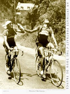 Vintage Tour de France ARCHRIVALS GINO BARTALI AND FAUSTO COPPI Poster - 1949 Tour de France Sepia Toned ~Available at www.sportsposterwarehouse.com