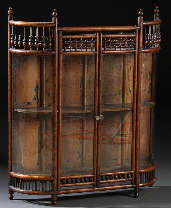 372 Victorian Bent Oak Curved Gl Wall Curio Cabinet Lot