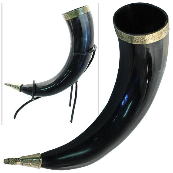 Brass designed Viking Drinking Horn for ale beer wine mead pagan celtic rituals