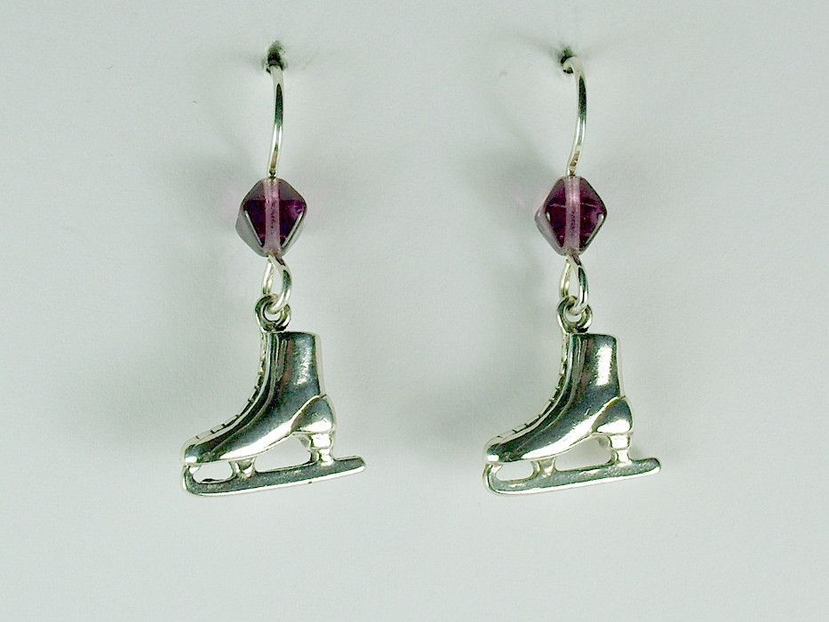 Sterling Silver Medium Figure Ice Skate Dangle Earrings Skater Winter Sport Skates