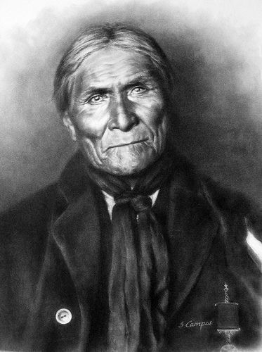 """Geronimo (1829-1909) was a prominent leader of the Bedonkohe Apache who fought against Mexico and the United States for their expansion into Apache tribal lands for several decades during the Apache Wars. """"Geronimo"""" was the name given to him during a battle with Mexican soldiers. His Chiricahua name is often rendered as Goyathlay or Goyahkla in English."""