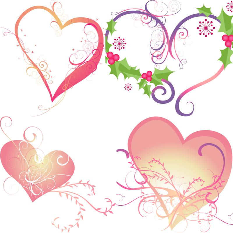 Hearts templates ornate flowers vector