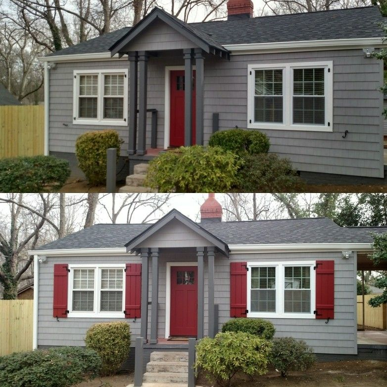 Before And After Board And Batten Exterior Shutters Isn 39 T The Red Perfect For This Adorable