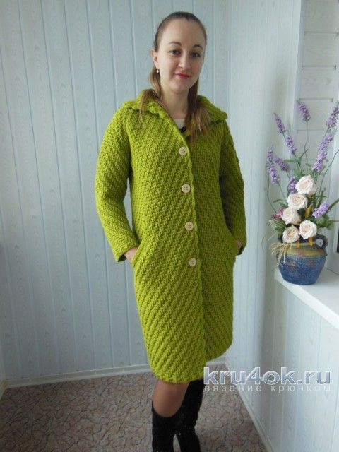 пальто крючком работа ксюши тихоненко вязание и схемы вязания