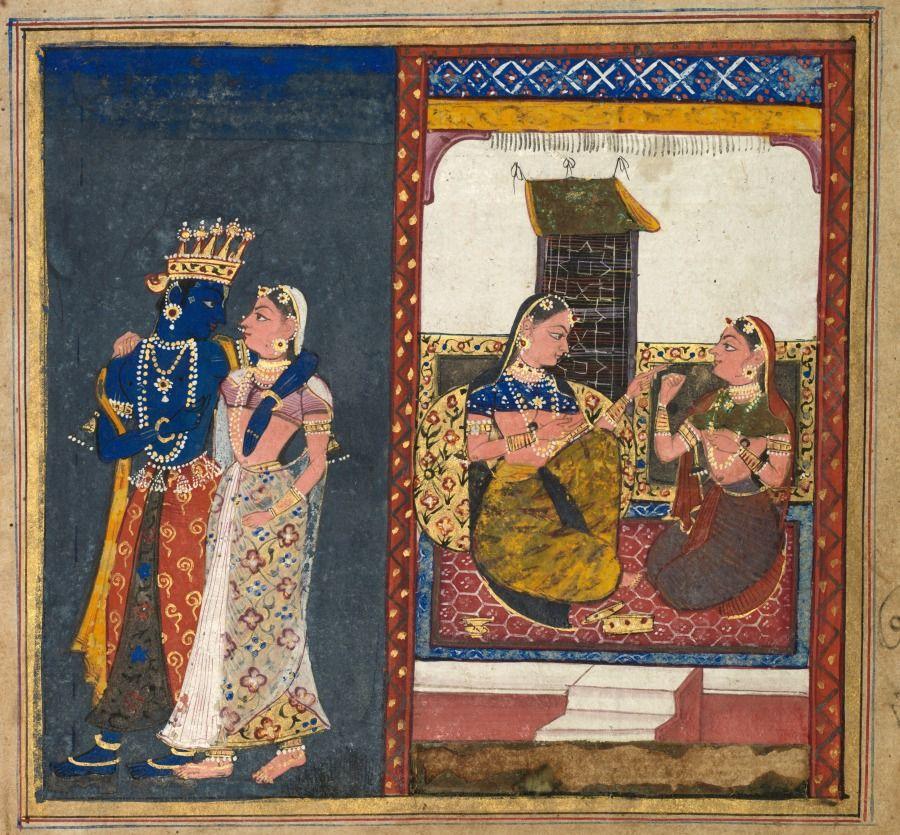 Radha And Krishna Embracing Leaf Gita Govinda