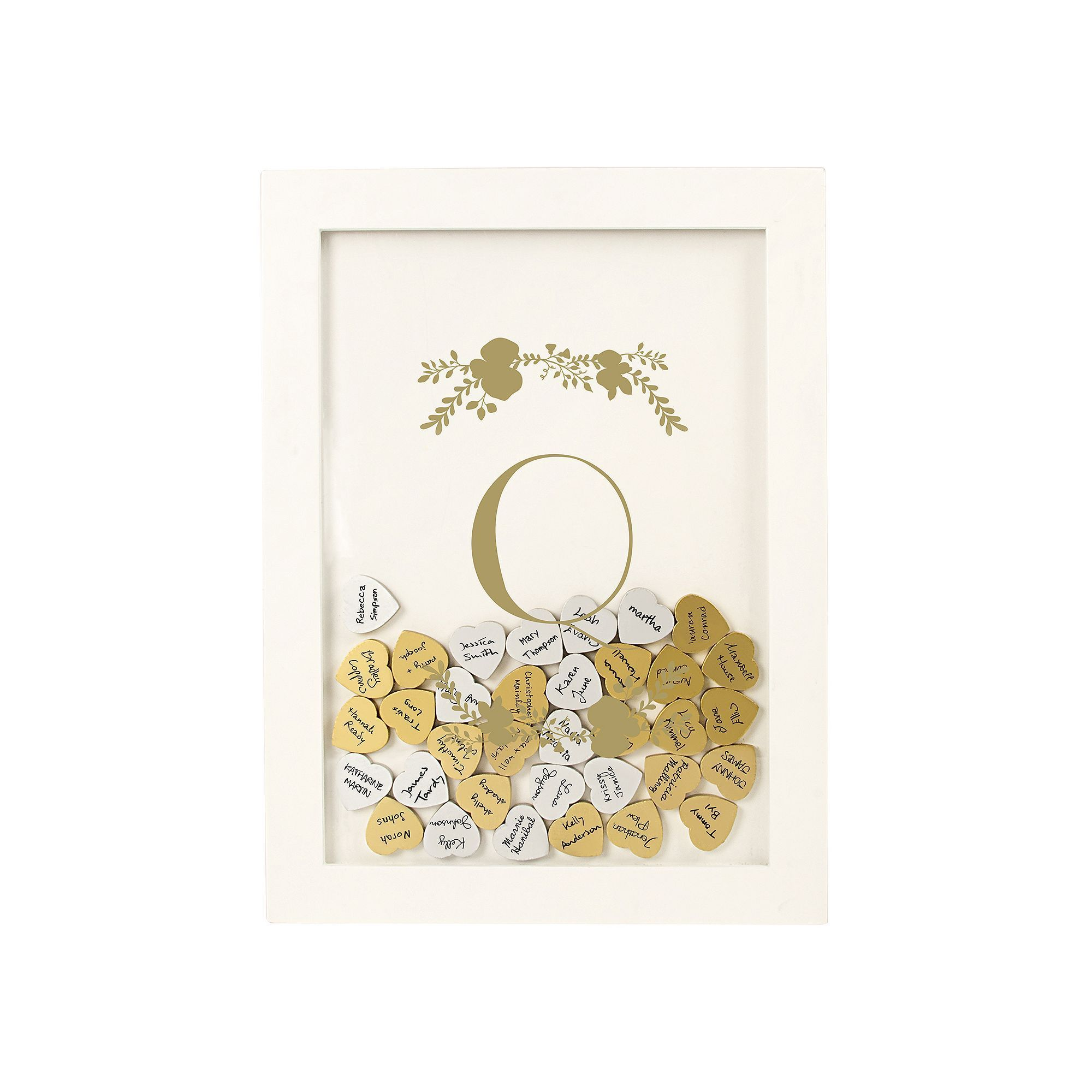 Cathy's Concepts Gold Finish Monogram Shadowbox Heart Drop Guestbook 101-piece Set, Yellow