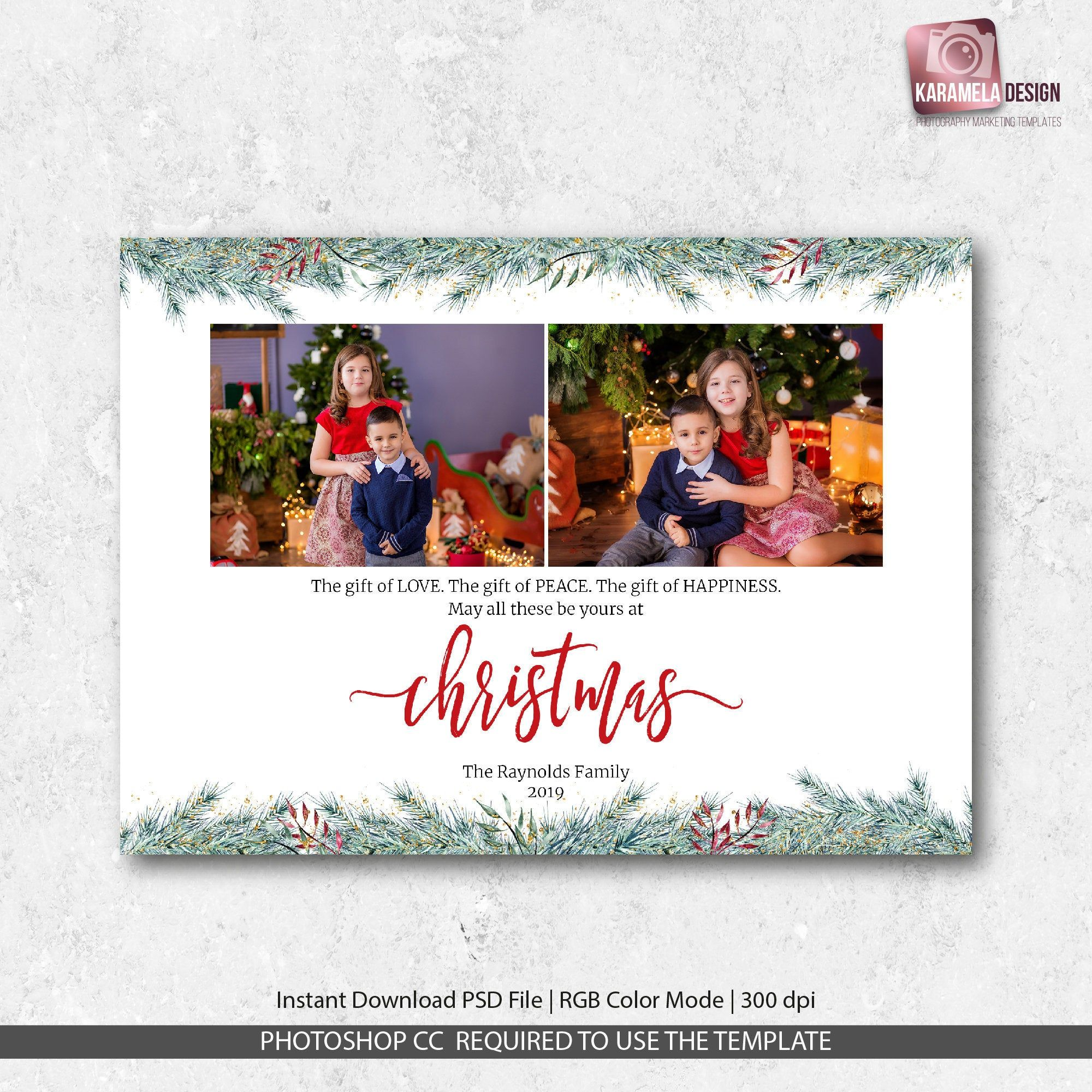 Digital Greeting Card with Photo Christmas Card Template