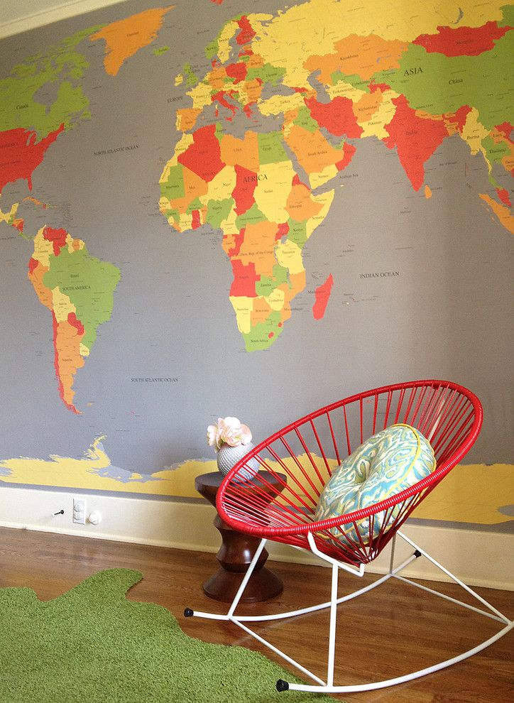 Remarkable Large World Map Wall Decal Decorating Ideas Gallery in Nursery Contemporary design ideas