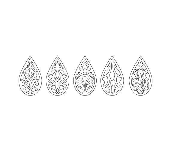 tear drop svg pendant svg earrings bundle leather earring