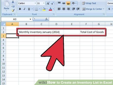 Create an Inventory List in Excel Create