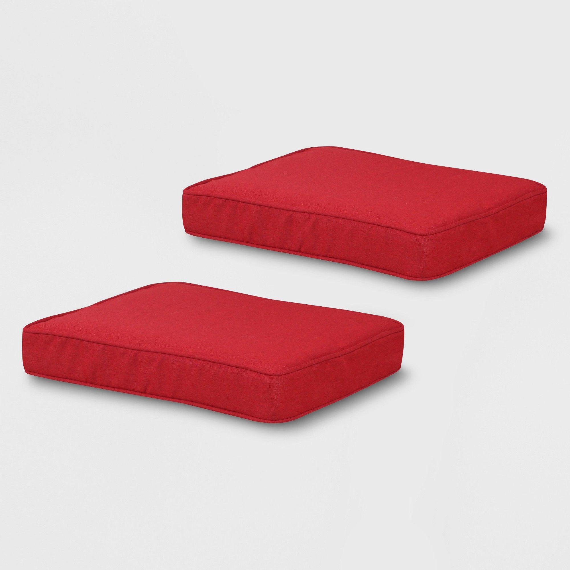 Rolston 2pk Outdoor Ottoman Cushions Red Grand Basket Ottoman