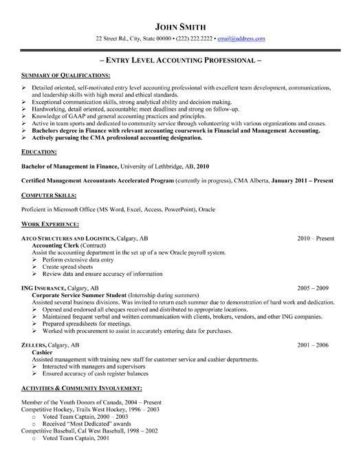 Entry Level Accounting Resumes New Pindanielle Villanueva On Resources  Pinterest  Template