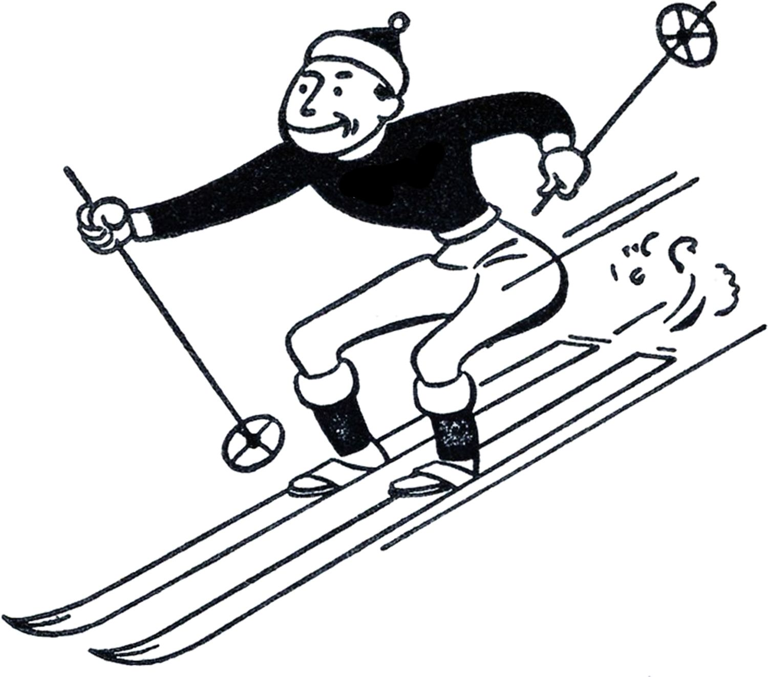 funny retro skiing clipart graphics fairy vintage images and rh pinterest co uk ski clipart black and white ski clipart black and white